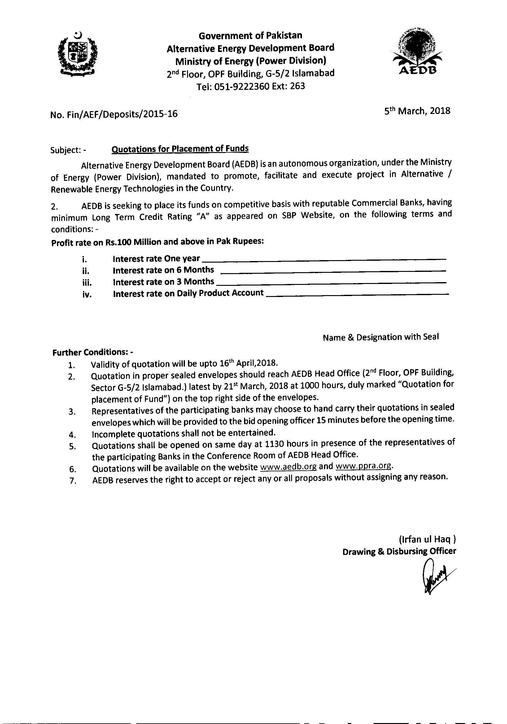 Quotation for placement of funds22018