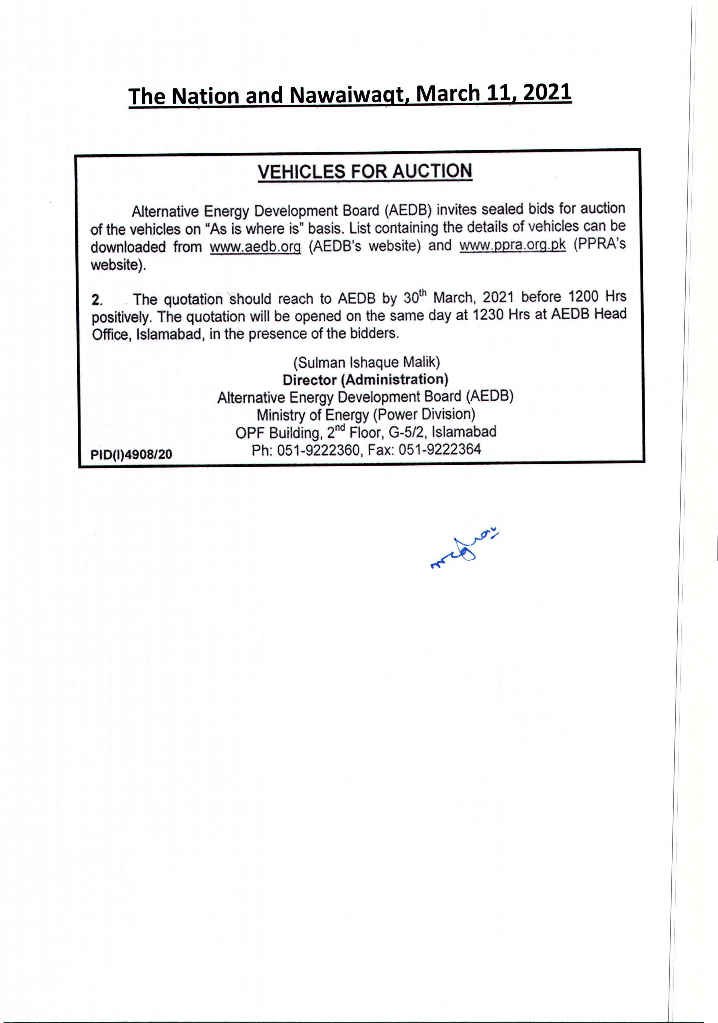 Vehicle for Auction Page 1