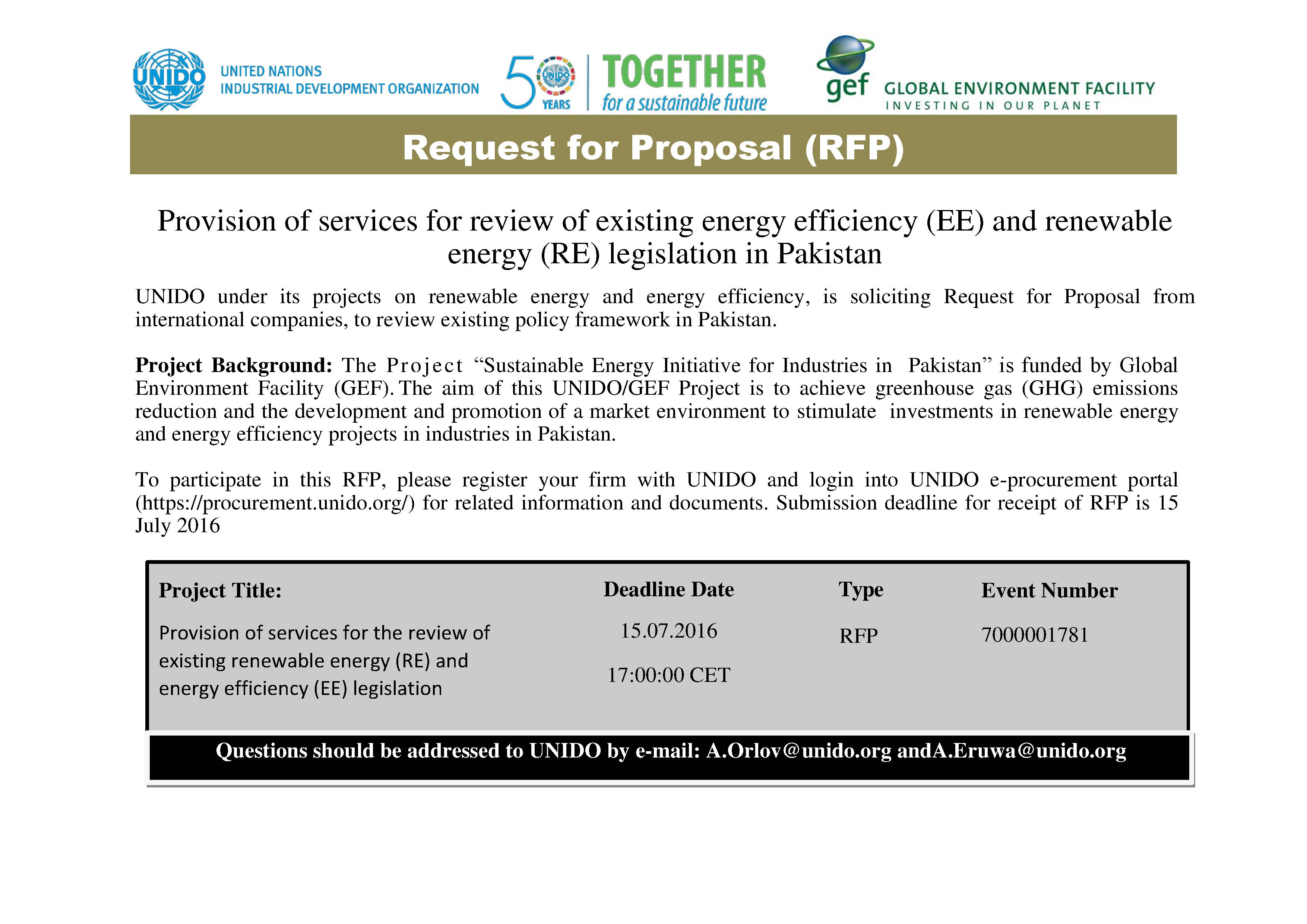 RFP for provision of services for the review of existing renewable